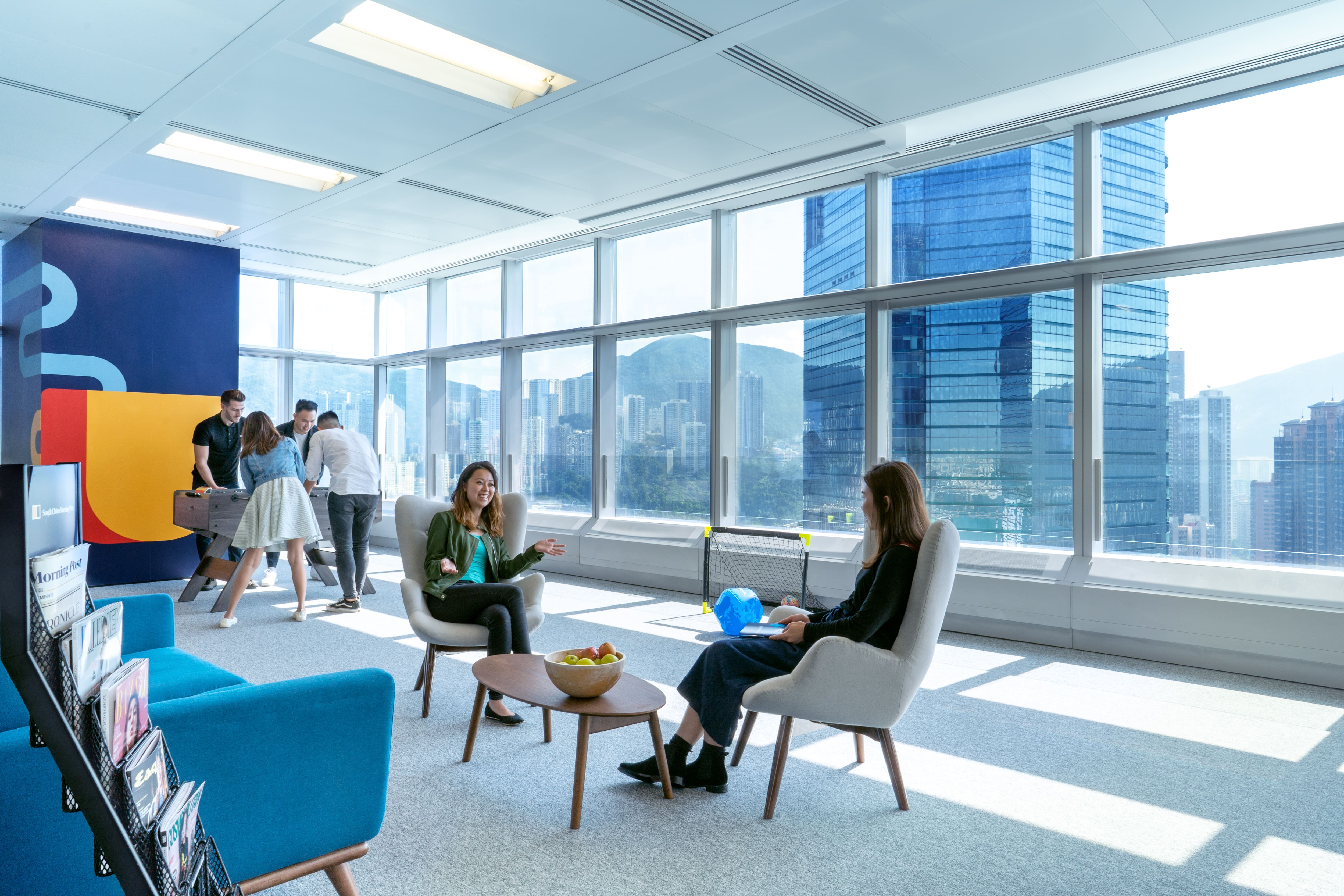 The post pandemic workplace design encourages collaboration and social interaction